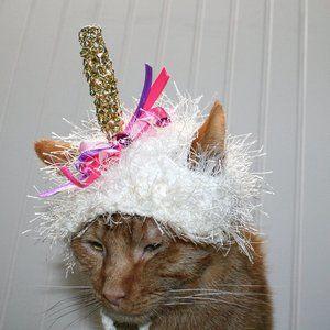 HANDMADE Crochet Hairy Wig Unicorn Dog Cat Hat